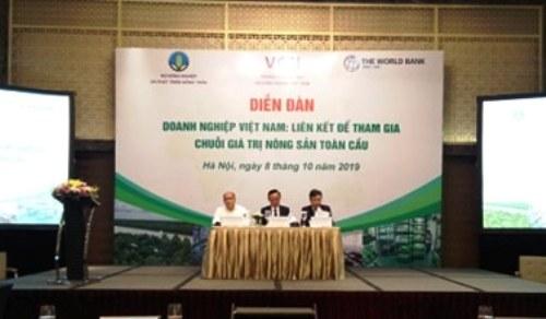 """Diễn đàn """"Doanh nghiệp Việt Nam: Liên kết để tham gia chuỗi giá trị nông sản toàn cầu"""". Ảnh: NNK"""