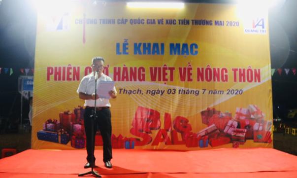 Ông Trần Phi Tường, Phó Giám đốc Trung tâm Xúc tiến Đầu tư, Thương mại và Du lịch tỉnh                          Quảng Trị phát biểu khai mạc phiên chợ